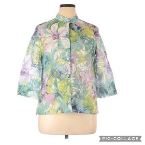 Alfred Dunner Floral 3/4 Sleeve Button Up Blouse